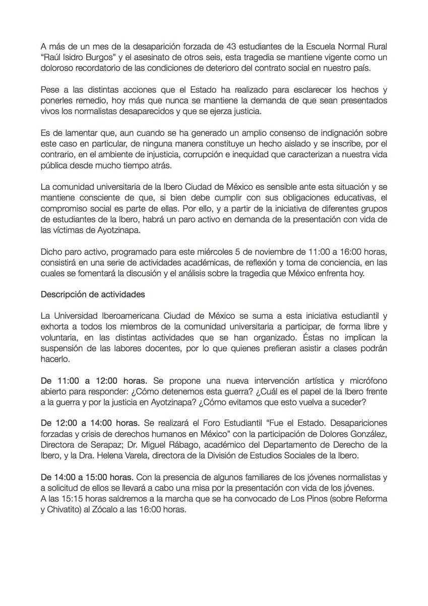 Encuentra aquí la carta de nuestro rector donde explica en qué consiste el paro activo por #Ayotzinapa http://t.co/W9KXqos1WP