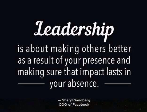 Leadership is about making others better as a result of your presence & making sure that impact lasts in your absence http://t.co/pAommEqMPw