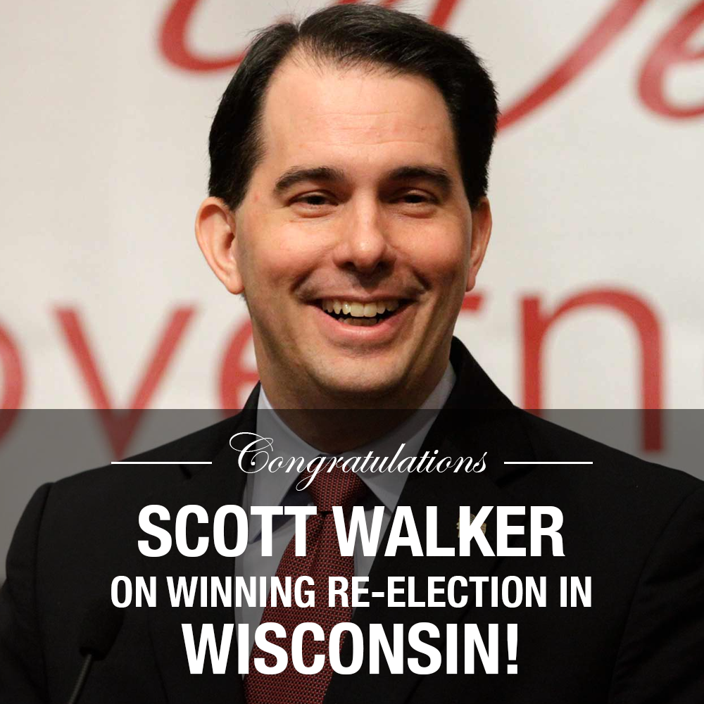 Congratulations to GOP Governor @ScottWalker on winning re-election in Wisconsin! http://t.co/Jcb6gaOsY9 #WIGOV http://t.co/fDDEjCI4e5