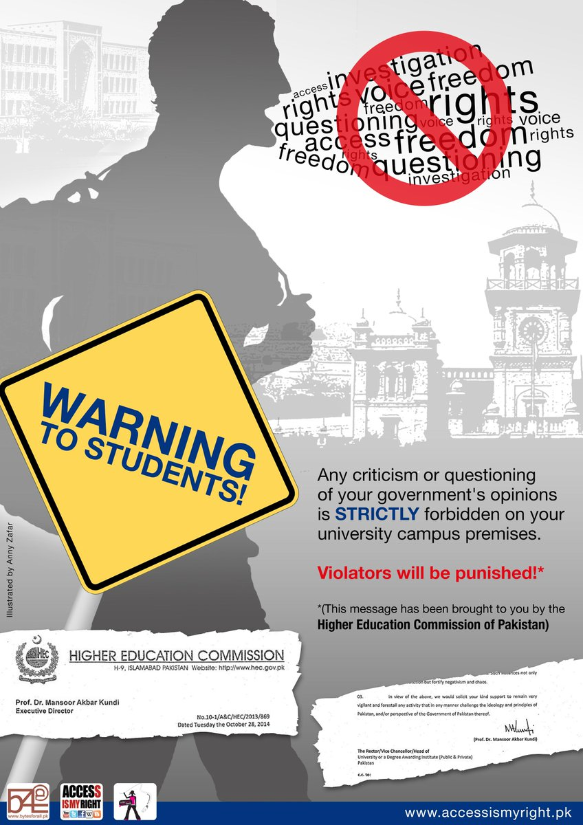 Our protest in response to @HEC_Pakistan's directive banning critical thinking in Pakistani Universities. #FoE http://t.co/tMePC2udYk