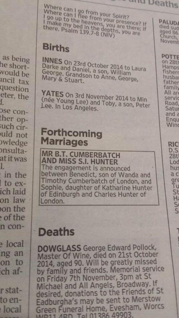 Huge congratulations to #BenedictCumberbatch on his engagement to Sophie Hunter, announced today in The Times. http://t.co/E0gIv617Sv