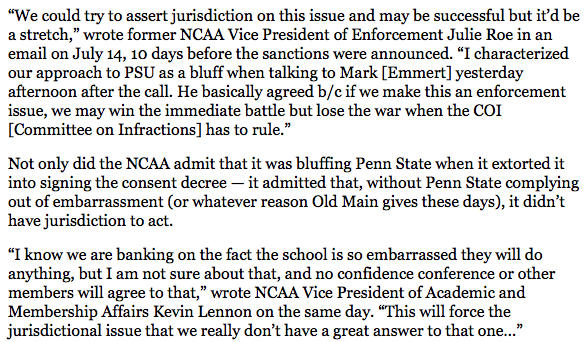 Internal emails from the NCAA re: Penn State are something else. http://t.co/JowKiIXyl9
