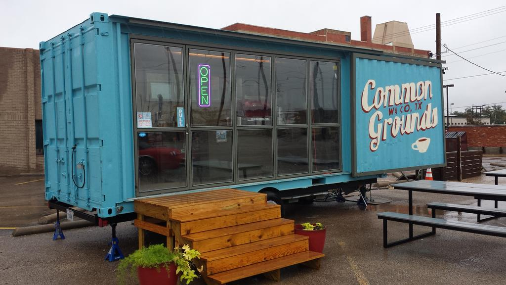 Common Grounds Coffee in Waco, TX. Love the shipping container design. #wacotown http://t.co/nDYZbzgG34