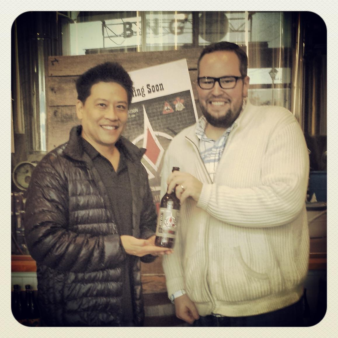 Hey guys, are you excited for @halcon_scificon? WELL, @GarrettRWang came by the brewery today! #WARNOG #TrekyLove! http://t.co/1kYq4YukHa