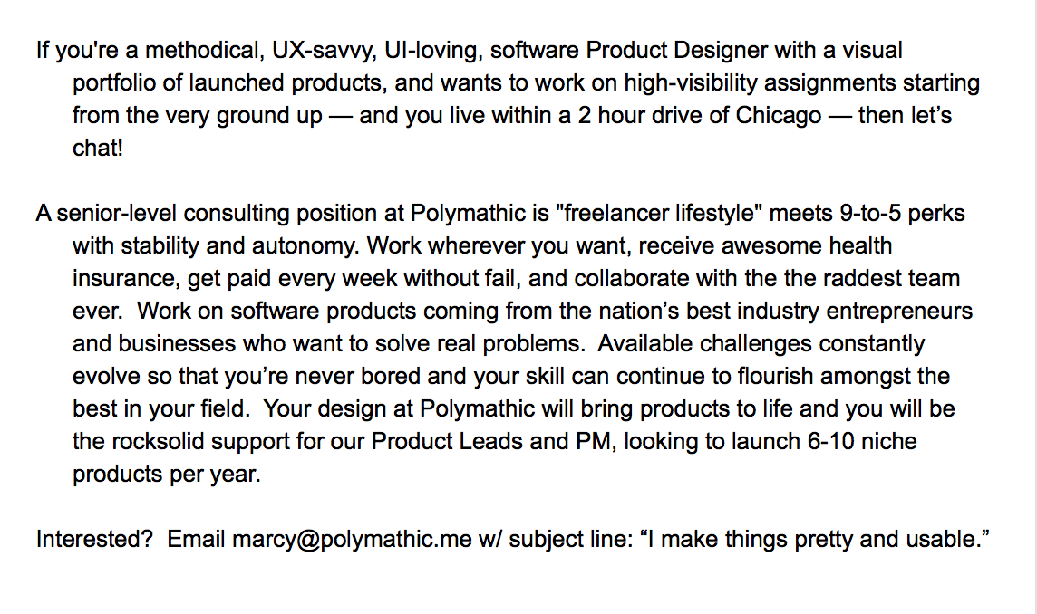 Chicago and Milwaukee: in search of a visual software product designer. Holler if you're looking for a new adventure! http://t.co/lLSvAwhrrQ