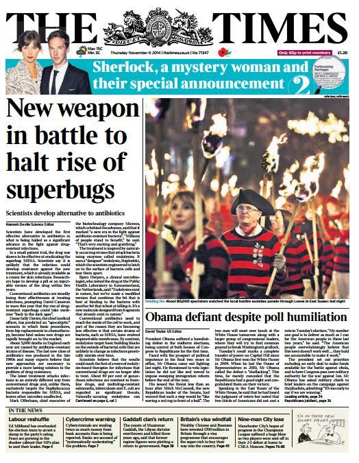 times front page new weapon in battle to halt rise of superbugs skypapers. Black Bedroom Furniture Sets. Home Design Ideas
