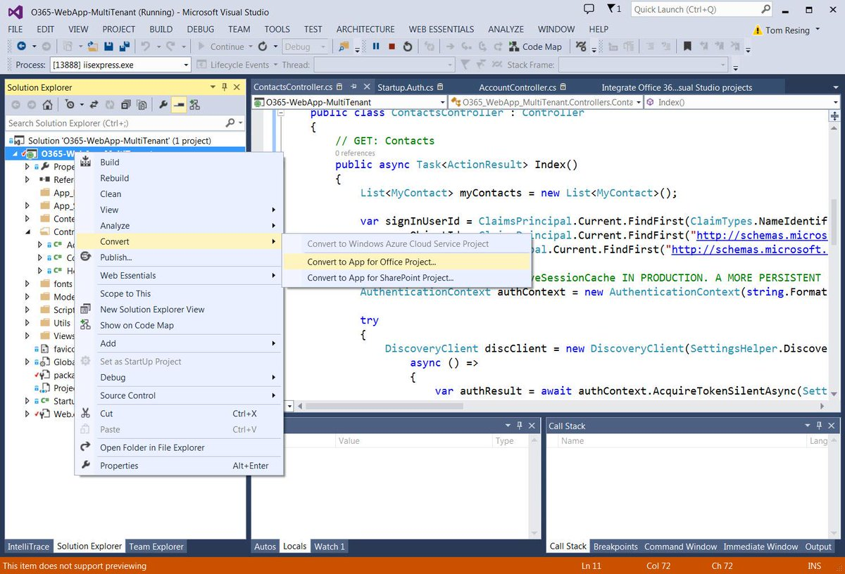 Did you know? You can convert an http://t.co/fx6uI0S829 Project to an App for Office or #SharePoint in Visual Studio http://t.co/WAV2hbQ9dB