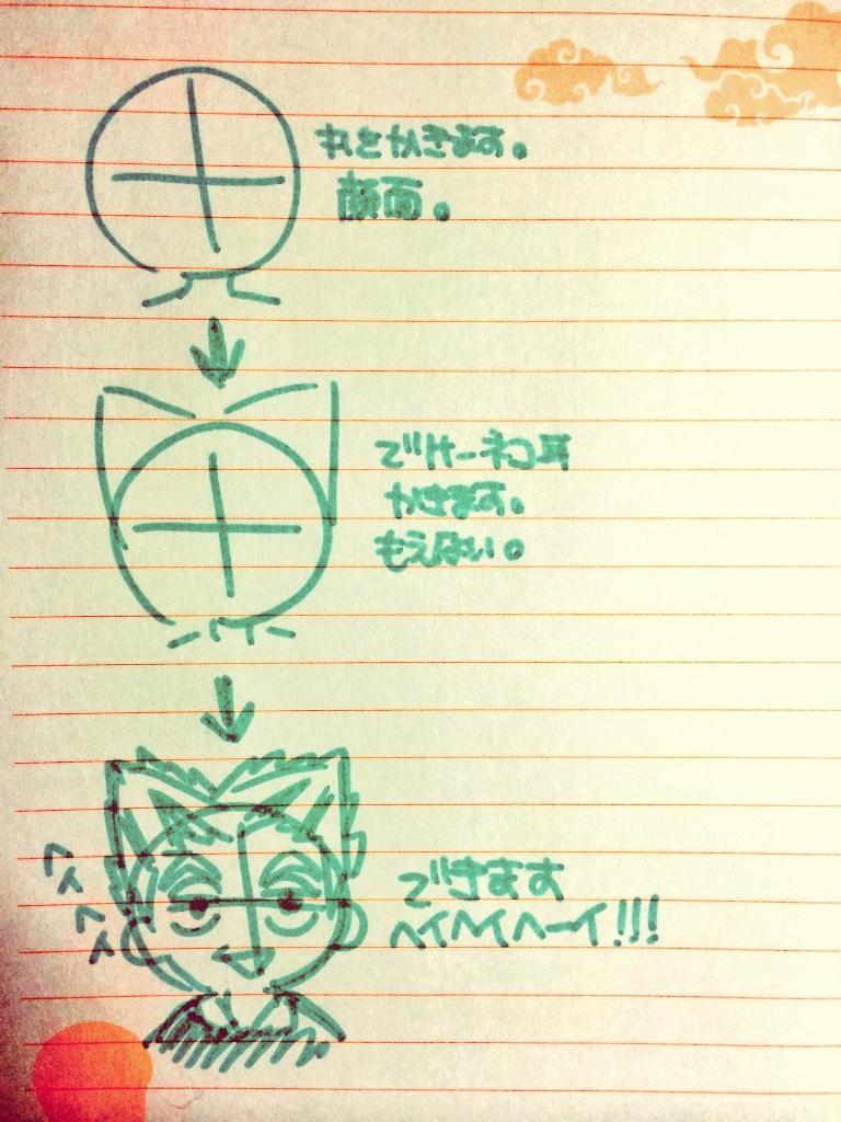 これで誰でも簡単に木兎さんが描ける!!さぁみんな!レッツTRYだ!!!(°  ▽°   ) http://t.co/oMPsALzcGD