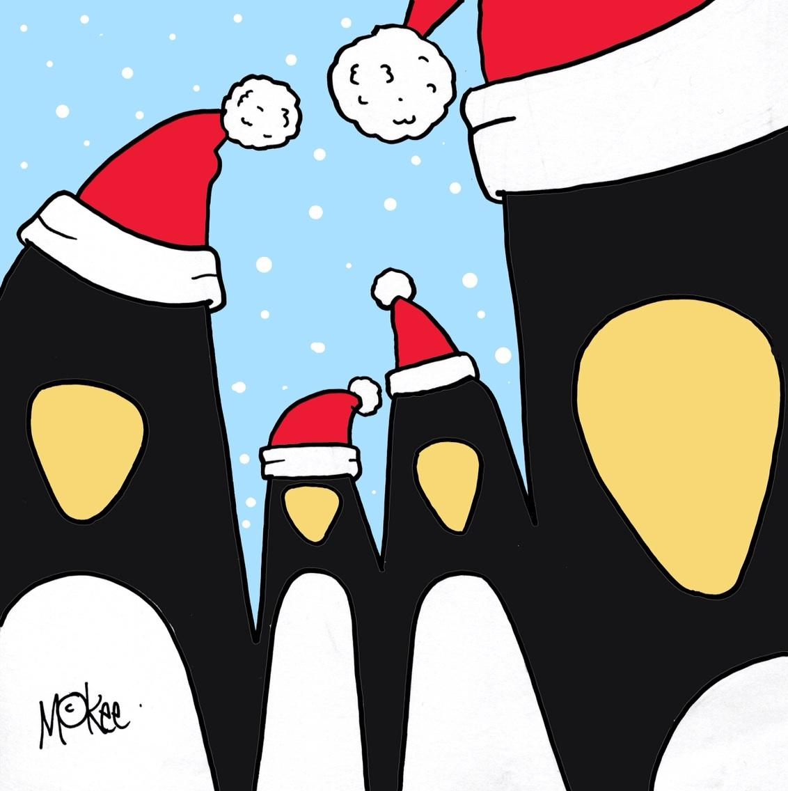 OK, OK. Early we know but available soon: This year's O Gen Christmas card by @PeteMcKee. PENGUINS!!! x x x http://t.co/dtb1fDTNsu