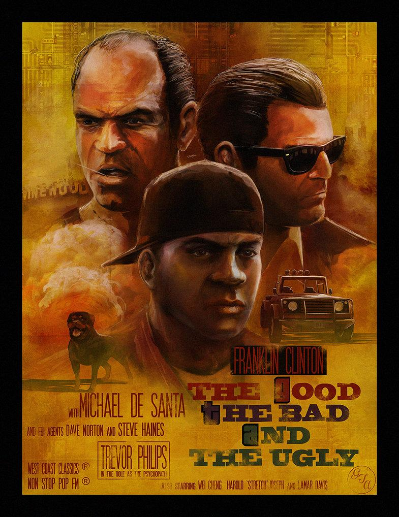 """""""The Good, The Bad and The Ugly"""": a Leone x #GTAV fan art poster by @andy_fairhurst http://t.co/gBoJvQsM8l"""