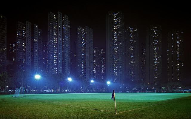 Football field photography at night