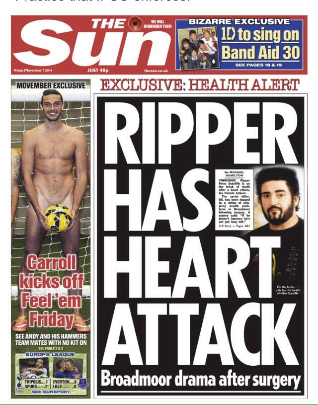Page 3 for the ladies: Andy Carroll appears on Sun front page wearing nothing but a ball for Movember