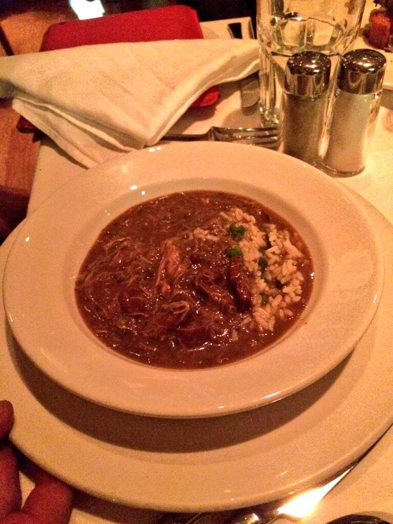 Salmon, Pork chops and classic Gumbo tonight at @Emeril 's restaurant - I missed New Orleans and its food! #entrees http://t.co/qGfN4t0NAd