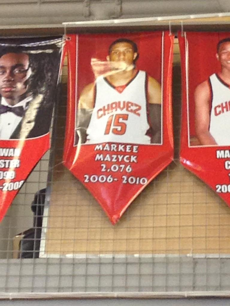 Substitute teaching P.E and saw my man @ImFreekyWhoU on the wall of fame in the gym! 2,000 point!!