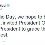 PM Modi tweets about inviting US president Barack Obama for Republic Day parade http://t.co/HgHbfD2mZp