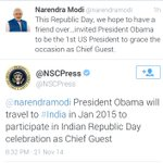 The @NSCPress confirms that US President @BarackObama will be Chief Guest on Republic Day. https://t.co/JYuzBcXCiq http://t.co/VSIhBF6VUF