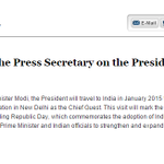 Official white house statement announcing US president will be the chief guest at 2015 Republic day parade #india #US http://t.co/EInrrST8dV