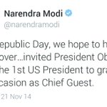 At 7:30 @narendramodi invites @BarackObama to R-Day parade. At 8:32 @NSCPress confirms it. Everything via tweets.Wow! http://t.co/DpjD9jB1o6
