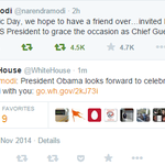 Here it is - diplomatic conversatn on twitter btwn @narendramodi & @WhiteHouse for US prez to be R-day chief guest http://t.co/aKvQ2zJm84