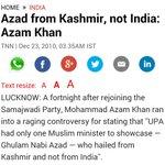 SP leader Azam Khan questions Kashmir's accession http://t.co/fxV5jGnMaT He today asked @timesnow journos religion http://t.co/e11kQQ6kUs