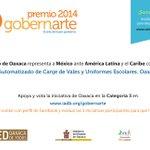 #Oaxaca nominada en el Premio @BID_GobernArte, Vota por la iniciativa de @RedOaxaca http://t.co/0iSYb10GXS @GabinoCue http://t.co/3xZRGroeQx