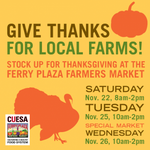 #SF make it a local Thanksgiving! Shop at pre-holiday markets at Ferry Plaza! Special market: Weds. 11/26 @CUESA http://t.co/9U1qlAUSLL