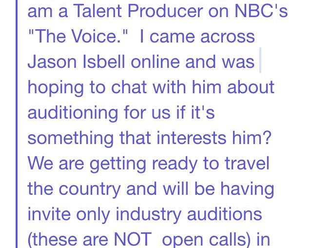 "Excerpt from REAL email I received today from a producer on ""The Voice."" He's been researching online. http://t.co/OogkSs6WCh"