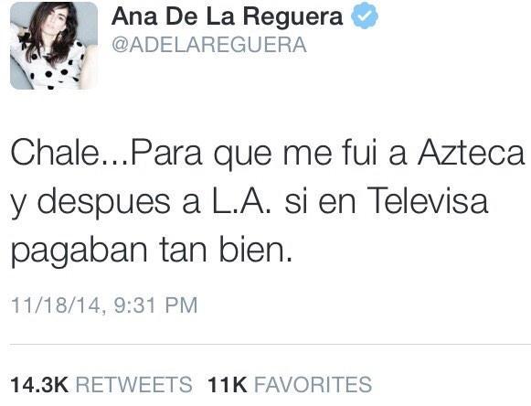 Ana De La Reguera (@ADELAREGUERA): La cantidad de sus RT son un claro ejemplo de #YaMeCansé #AyotzinapaSomosTodos que no se nos olvide!