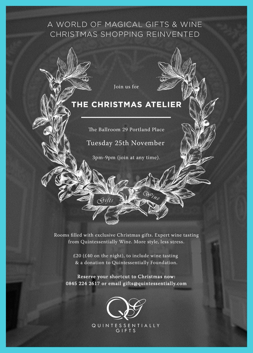 We are giving you the chance to shop stress free for Christmas, just RT this post to win 2 tickets to @QGifts Atelier http://t.co/O6yReQnZcl