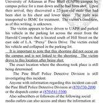 #BREAKING: 22 yo shot near #UAPB. @PBPoliceDept saying shooting has no connection to university. http://t.co/WTD9XSsH9E