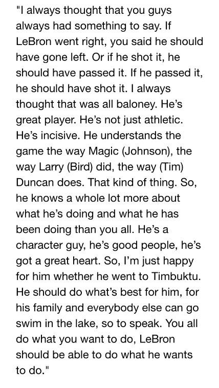 One of the greatest coaches of all time (Popovich) talking about one of the greatest players of all time (LeBron) http://t.co/dXJIqlie3B