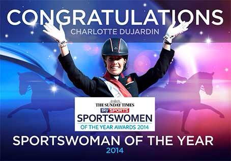 Woohoo! She's done it! Such an achievement and honour! @CSJDujardin is the @thesundaytimes @SkySports #SWOTY2014! http://t.co/ZkO1HYwv1c