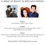 Night of #Beauty with #BeautifyLA & @Marco_Pelusi Dec 2/6-8pm in West Hollywood! RSVP@Beautify-LA.com http://t.co/PtDWT4UG1Y Be there #LA!
