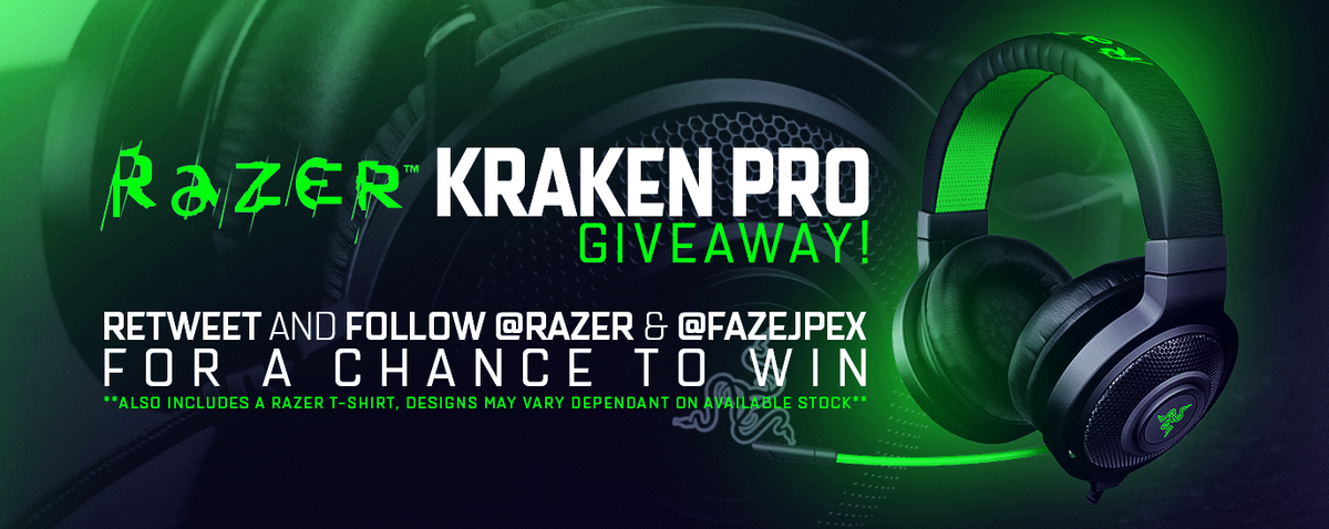 **GIVEAWAY** RT AND FOLLOW @Razer and @FaZeJPEX for a chance to win a Razer Kraken Pro Headset + Shirt!!! http://t.co/8ouHaulpFB