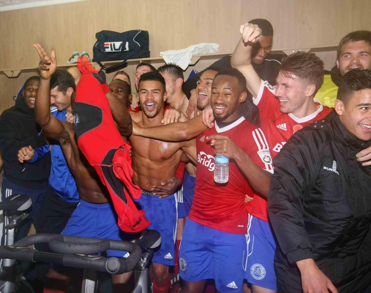 The scenes inside the home dressing room after the final whistle #WeAreIn http://t.co/EdexrKr5y1