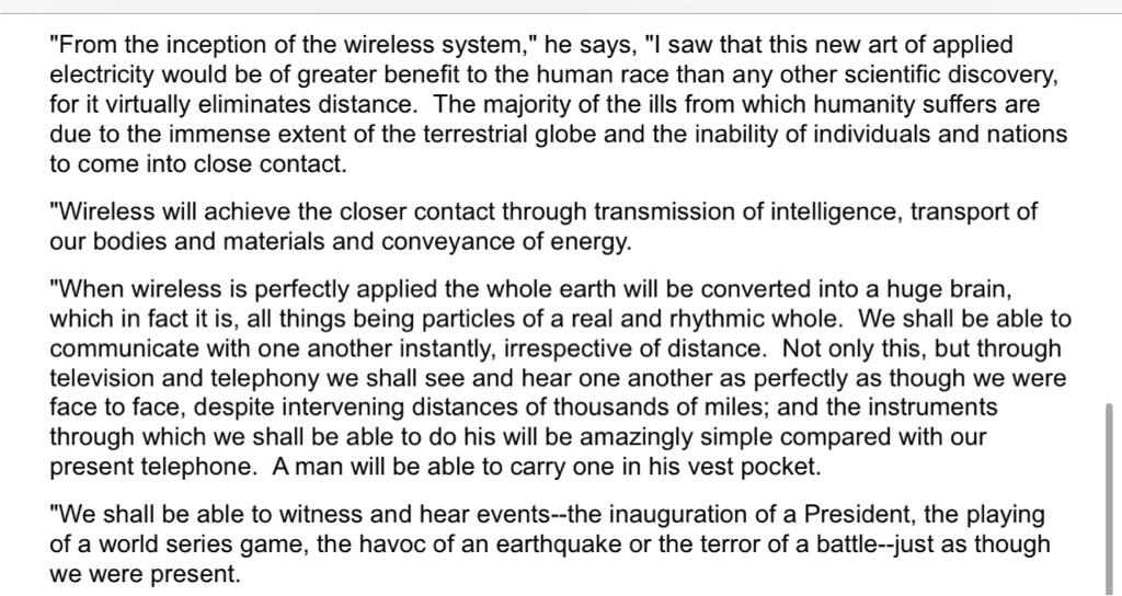 Nikola Tesla predicting today back in 1926 http://t.co/r0jcpQPh7e Via @cdixon