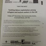 Save the date: our trustee @DrHJLewis workshop on tackling labour exploitation is on 12 Dec at One Community Centre. http://t.co/wLXonG3n1L