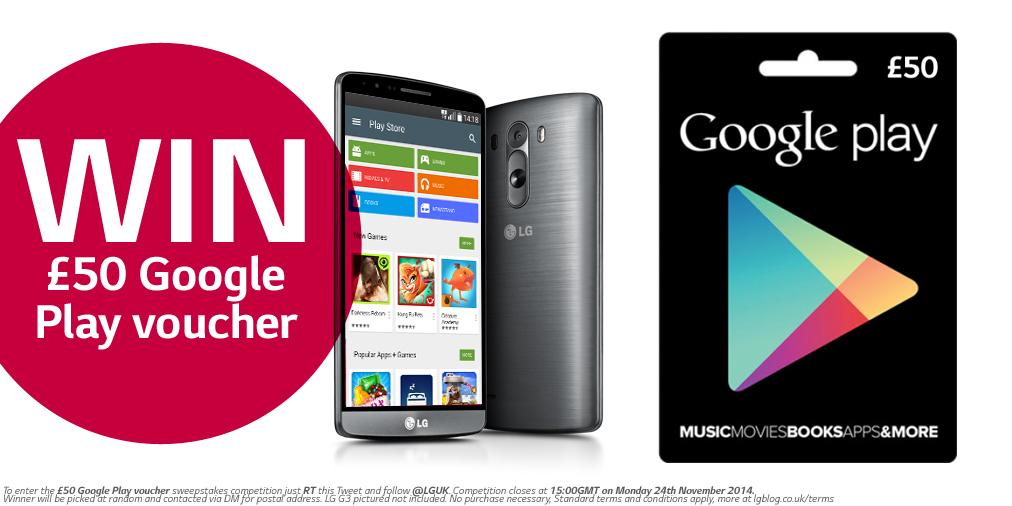 To enter our latest #competition just RT & FOLLOW @LGUK and you could WIN a £50 @GooglePlay voucher!! http://t.co/yWdTIe8J0Q