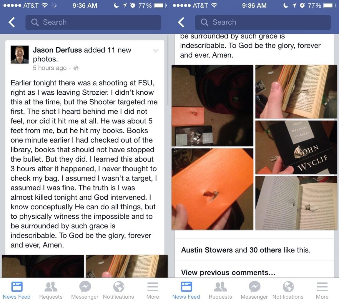 #FSU student claims library books in backpack saved his life from bullet. Amazing.  http://t.co/ZUHHlCdvla http://t.co/mLdjPvE8Uu