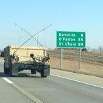 NOW: Mo. National Guard on I-70 EB traveling toward St. Louis. http://t.co/kkDMgbBrlf