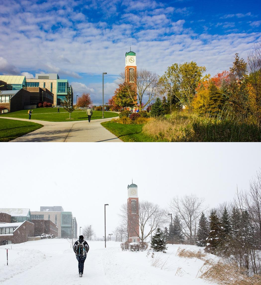 #tbt to early last week, when campus looked like this (top) and we didn't have 30.8 inches of snow (bottom). http://t.co/vAePxnN2wo