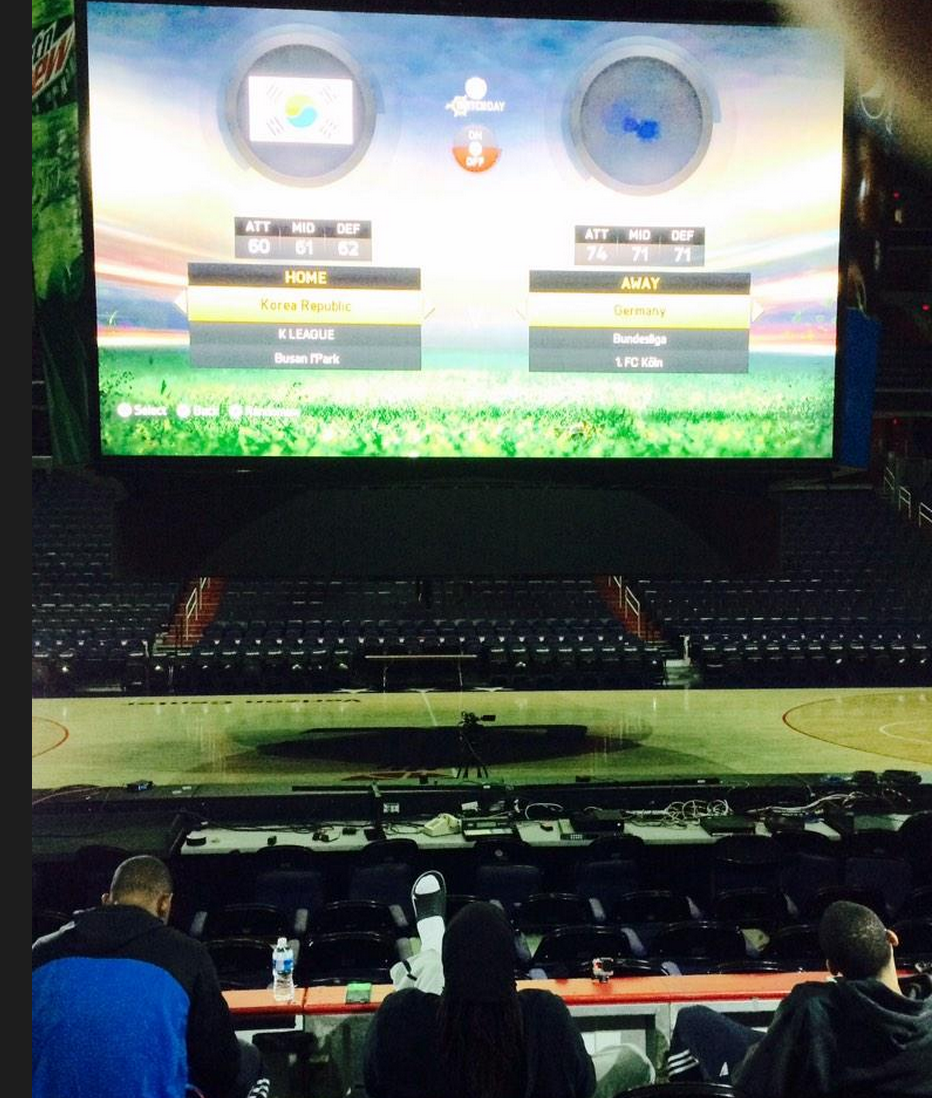 #Brazil @NeneHilario42 & @WashWizards are playing @EASPORTSFIFA … On Verizon Center Jumbotron! http://t.co/TBA8HfcC1R http://t.co/Oi3xSnLLA5