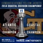 .@GeorgiaTechFB has clinched #ACCs Coastal Div championship, will play in 2014 #ACCFCG. Tix: http://t.co/kQxGmAH6qT http://t.co/ozrShDPhsc