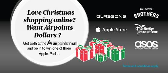 Earn Airpoints Dollars and be in to win 1 of 3 Apple iPads at the