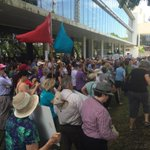 Rally at ABC Brisbane against budget cuts @our_abc #OurABC http://t.co/Xf3SI2E1S5