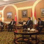 Turkish PM @Ahmet_Davutoglu arrives in Erbil after visiting Baghdad. KRG PM @NBarzani welcomes the delegation. http://t.co/eV04s3Nw3U