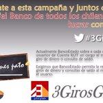"""¡Súmate y consigamos que el """"Banco de todos los Chilenos"""" deje de lucrar con tu bolsillo!. #3GirosGratis http://t.co/XHG1Qqe96z"""