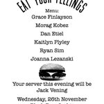 Next Wed were holding Eat Your Feelings at @BlackBear_Lodge - come a long to hear stories about FOOD. http://t.co/Gk1LjBh87i