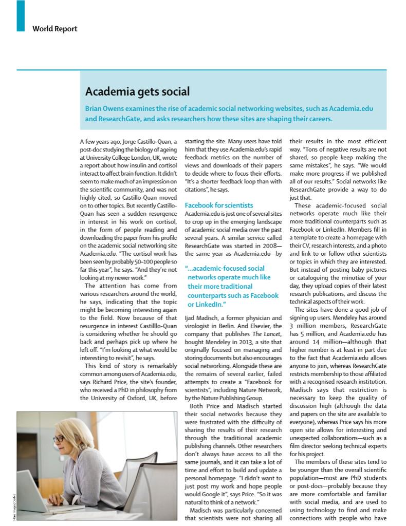 """""""Soon...all papers will be open access"""" #meded MT @TheLancet: Rise of soc networks in academia http://t.co/pi9pbX4UAN http://t.co/lgvVnkNVjP"""