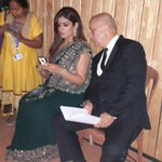 RT @TandonRaveena: An actor prepares!!! Both of us checking out our scripts, before heading out onto stage! @AnupamPkher  #IFFI2014